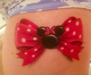 bow, minnie mouse, and tattoo image