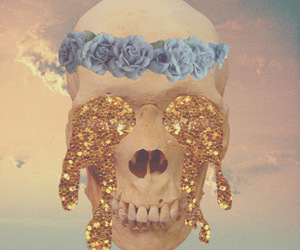 skull, flowers, and gold image
