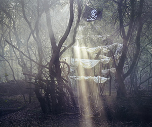 pirate, boat, and forest image