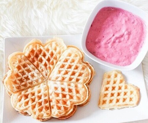 waffles, food, and pink image