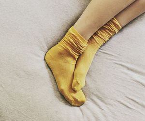 socks, yellow, and feet image