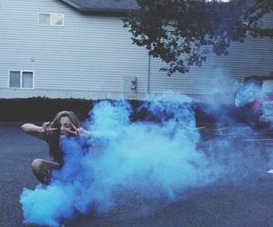 grunge, blue, and smoke image
