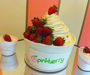 pinkberry, strawberry, and food image