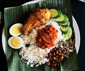 coconut, fried chicken, and malaysian food image