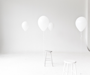 balloons, room, and white image