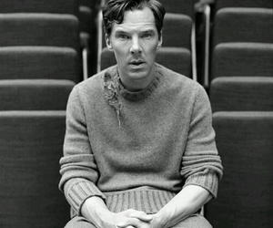 benedict cumberbatch, sherlock, and black and white image
