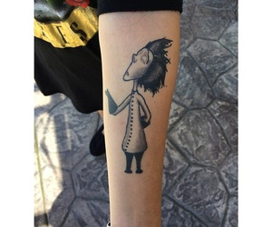 arm tattoo, black and white, and cartoon image