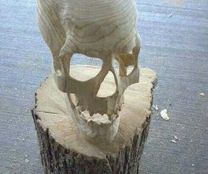 skull, wood, and handmade image