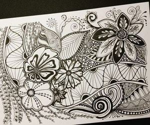 artwork, doodle, and flowers image