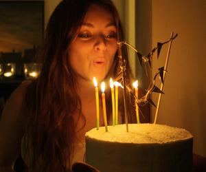 birthday cake, candles, and frosting image