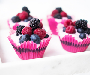 food, fruit, and cupcake image