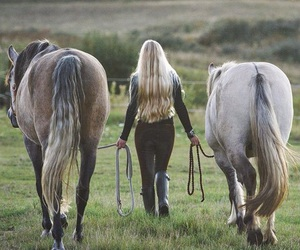 horse, girl, and pony image