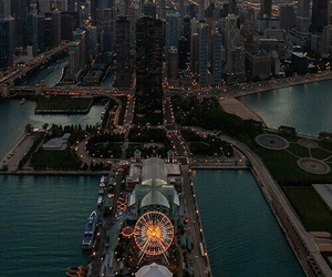 city, light, and chicago image