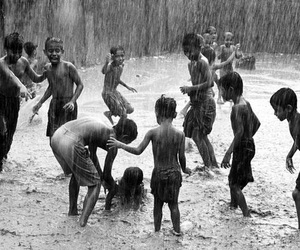 rain, child, and black and white image