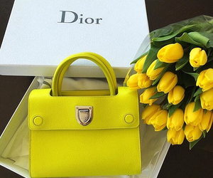 dior, flowers, and bag image