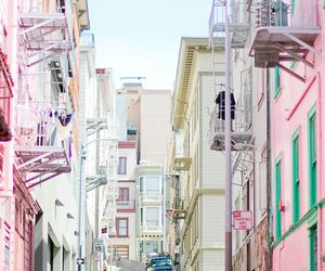 pastel, pink, and city image