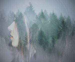 double exposure, girl, and hair image