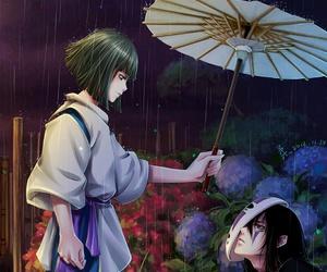anime, spirited away, and rain image