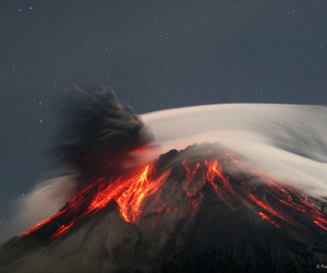 nature, volcano, and fire image