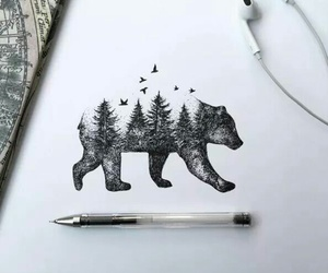 bear, art, and drawing image