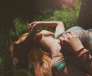 girl, grass, and sunlight image