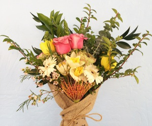 bouquet, roses, and burlap image
