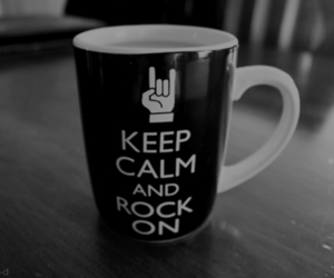black and white, cup, and keep calm image