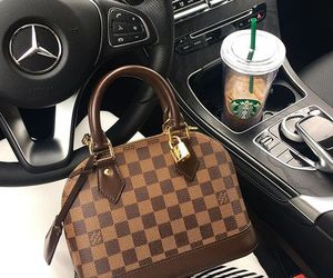 Louis Vuitton, starbucks, and car image