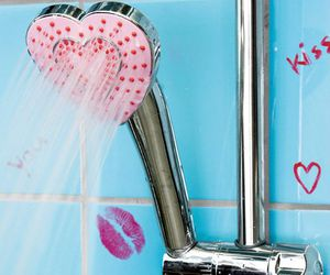heart, shower, and pink image