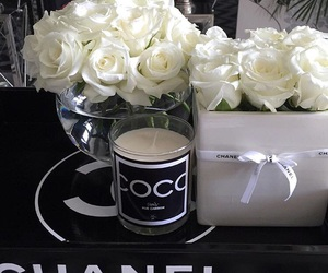 chanel, white roses, and chanel gift image