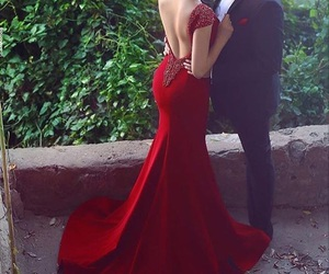 classy, open back, and red image