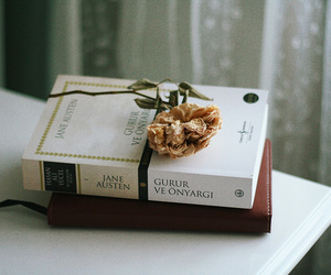 book, flowers, and jane austen image