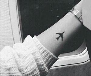 tattoo, plane, and travel image