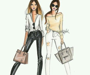 chic, pretty, and fashion drawing image