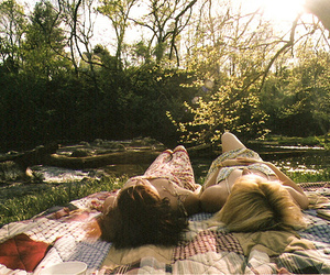 girl, friends, and nature image