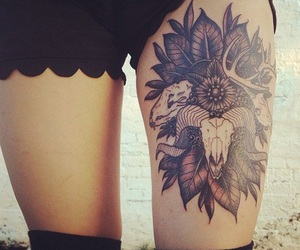 tattoo, thigh tattoo, and black and grey image