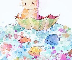 cat, art, and umbrella image