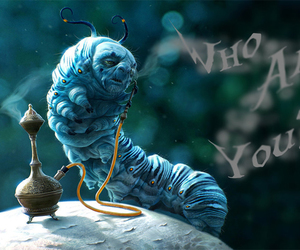 alice in wonderland, blue, and caterpillar image