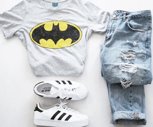 batman, adidas, and outfit image