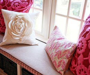 pink, pillow, and flowers image
