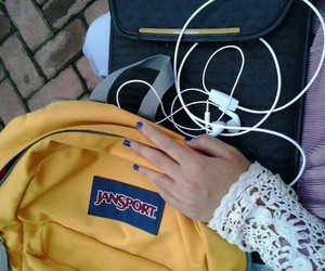 earphones, jansport, and paintednails image