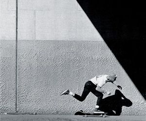 black and white, skate, and boy image
