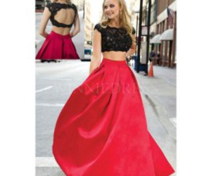 red prom dress, long prom dress, and two piece prom dress image