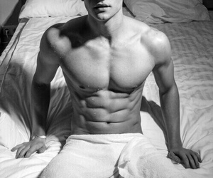 bed, black and white, and boy image