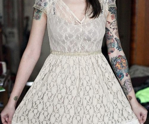 tattoo, dress, and girl image