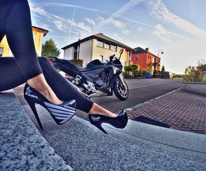 highheels, moto, and woman image
