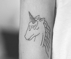 tattoo, unicorn, and ice cream image