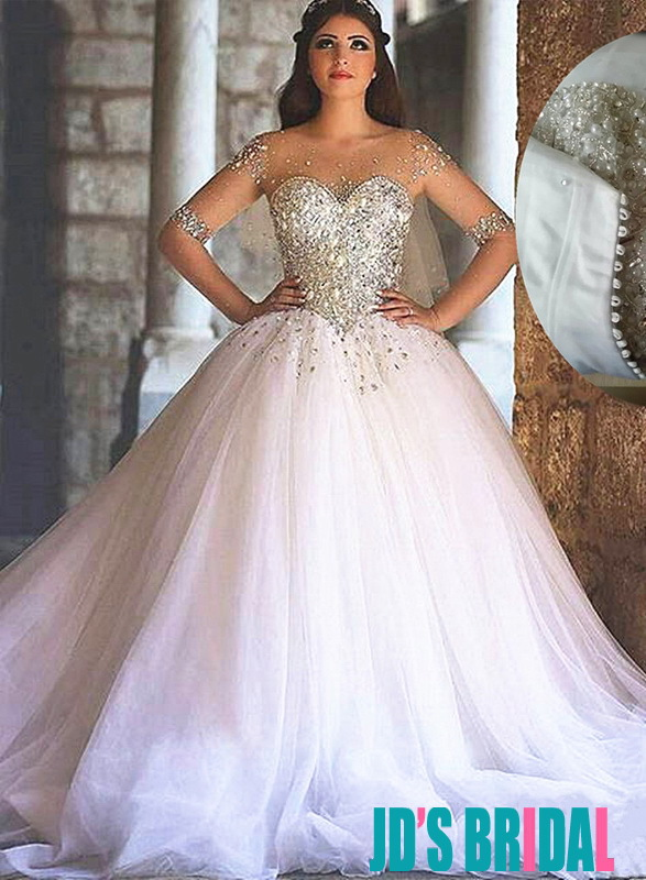 2016 Luxury Sparkly White Tulle Princess Ball Gown Wedding Dresses With Crystals Detailed And Long Sleeves,Mermaid Sweetheart Lace Romantic Wedding Wedding Dresses
