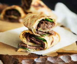 beef, pancake, and roll image