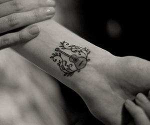tattoo, guitar, and music image
